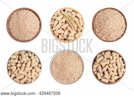 Set With Wheat Bran On White Background, Top View