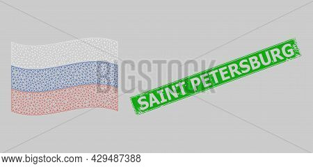 Mesh Polygonal Waving Russia Flag And Scratched Saint Petersburg Rectangle Stamp. Carcass Model Is D
