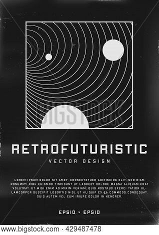Retrofuturistic Poster Design. Cyberpunk 80s Style Poster With Illustration Of Black Hole Tunnel Wit