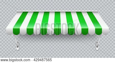 Shop Sunshade With Metal Mount. Realistic Green Striped Cafe Awning. Outdoor Market Tent. Roof Canop