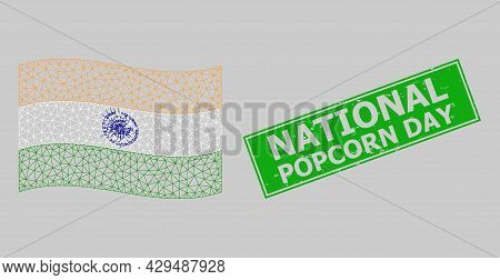 Mesh Polygonal Waving India Flag And Scratched National Popcorn Day Rectangle Badge. Abstraction Is