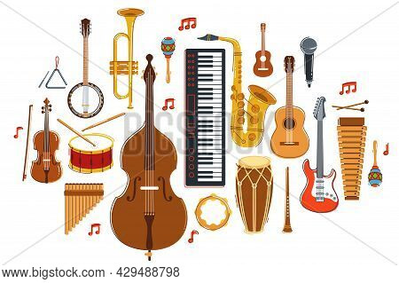 Music Orchestra Diverse Instruments Vector Flat Illustration Isolated On White Background, Live Soun