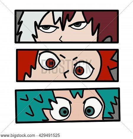 Anime Poster. Kawaii Winking Face Set With Big Eyes In Manga Style. T-shirt