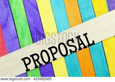 Colored Ice Cream Sticks With The Word Suggestion Or Proposal