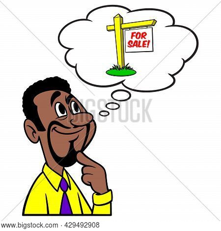 Man Thinking About Selling House - A Cartoon Illustration Of A Man Thinking About Selling House.