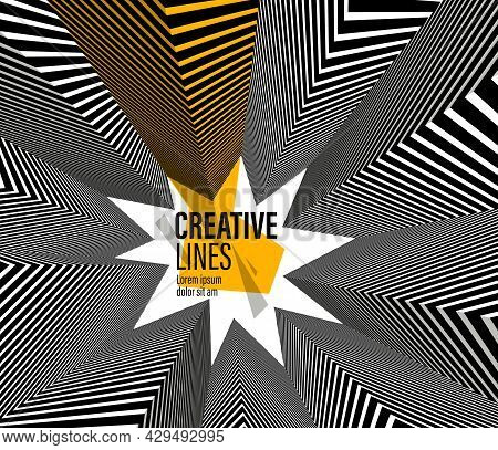 Abstract Vector 3d Lines With Yellow Elements Background, Black And White Linear Perspective Dimensi