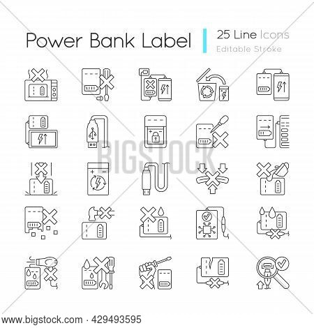 Power Bank Usage Linear Manual Label Icons Set. Prolonging Charger Life. Customizable Thin Line Cont