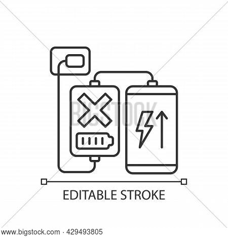 Charging, Discharging Powerbank Linear Manual Label Icon. Thin Line Customizable Illustration. Conto
