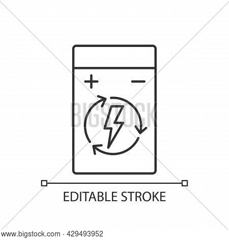 Rechargeable Lithium Polymer Battery Linear Manual Label Icon. Thin Line Customizable Illustration.