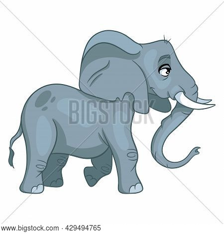 Animal Character Funny Elephant In Cartoon Style. Children's Illustration.