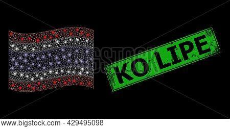 Glowing Mesh Polygonal Waving Thailand Flag With Lightspots, And Distress Ko Lipe Rectangle Badge. G