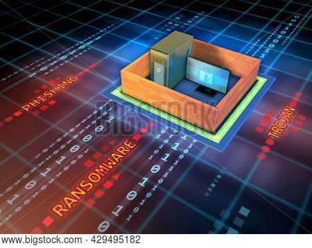 Workstation protected by a wall against hacking attacks. 3D illustration.