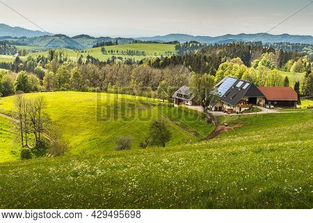 St. Maergen, Baden-wuerttemberg, Germany - May 28, 2021. Traditional Black Forest Farm House In Hill