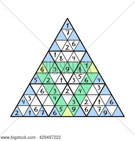Triangle Sudoku Game Vector Illustration. Colorful Sudoku Number Game For Kids And Beginners. Place