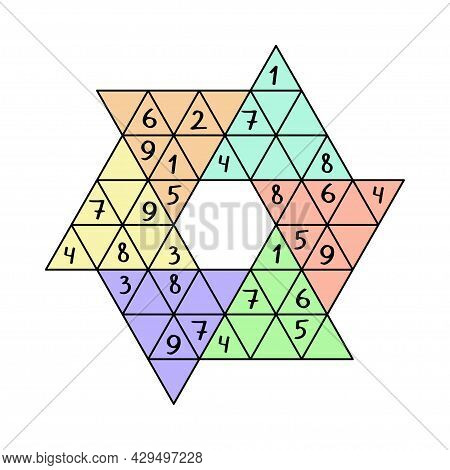 Star Sudoku Colorful Vector Illustration. Unusual Sudoku Game By 1-9 Numbers. Place It One Similar N