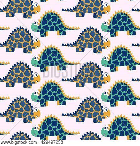 Cartoon Spotted Stegosaurus Dinosaurs Childish Seamless Pattern Vector. Funny Jurassic Era Reptile A