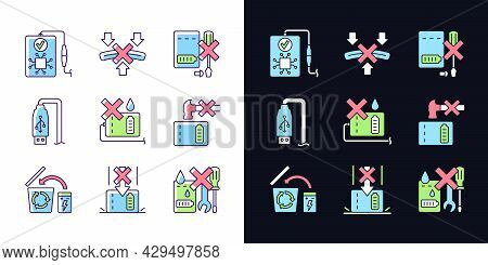 Power Bank Instruction Light And Dark Theme Rgb Color Manual Label Icons Set. Isolated Vector Illust
