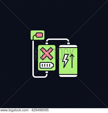 Charging, Discharging Rgb Color Manual Label Icon For Dark Theme. Isolated Vector Illustration On Ni