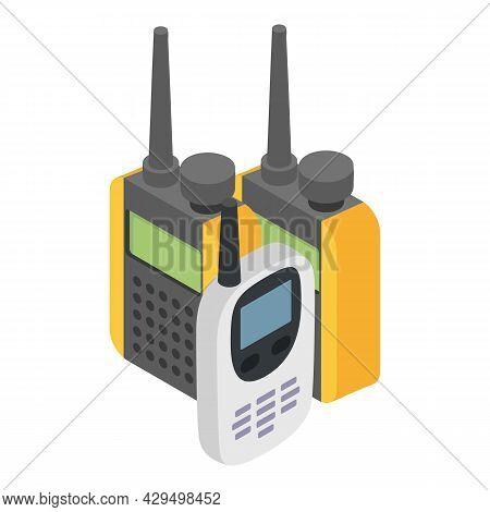 Walkie Talkie Icon Isometric Vector. Touristic Walkie Talkie Radio Transceiver. Modern Portable Hand
