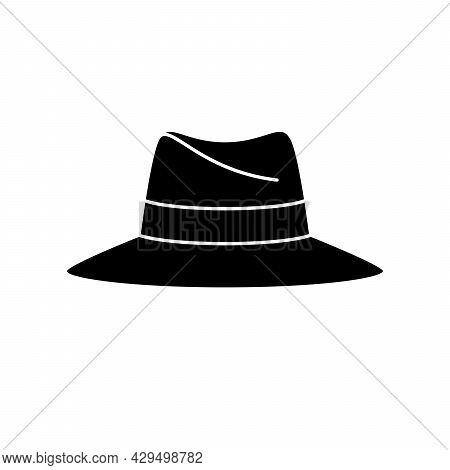 Classic Panama Hat Icon. Vintage Panama Hat Icon. Vector Illustration. Panama Hat Vector Icon. Black