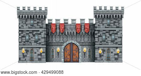 Stone Castle Wall Vector Background, Medieval Brick Gate, Old Town Entrance, Wooden Ancient Door. Hi