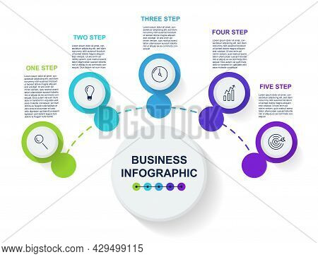 Business Data Visualization With Five Steps To Success. Concept Of Timeline Infographic Icons Design