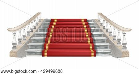 Vector Palace Staircase Illustration, Classic House Stairs Front View, Red Carpet, Marble Balustrade