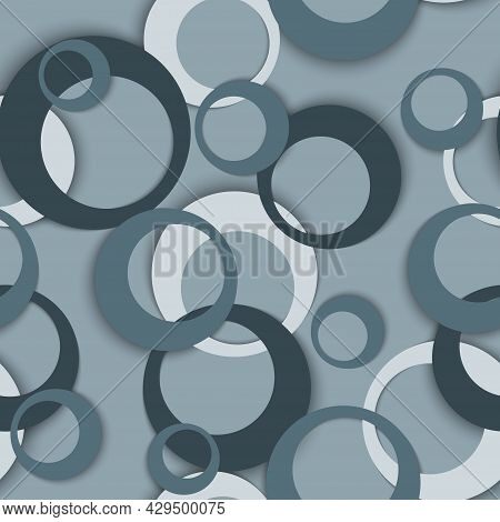 Circle Rings Geometric Seamless Pattern, Round Shapes