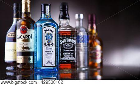 Poznan, Pol - May 12, 2021: Bottles Of Assorted Global Hard  Liquor Brands Including Whiskey, Vodka,