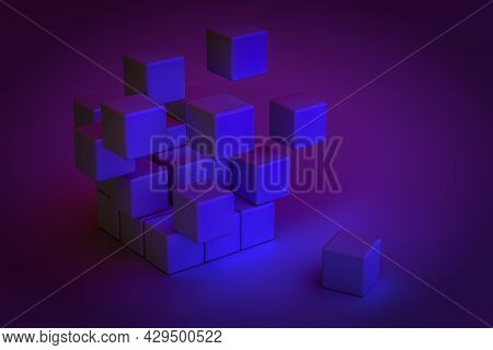 3d Rendering Geometric Abstraction Data Base Background From Cubes