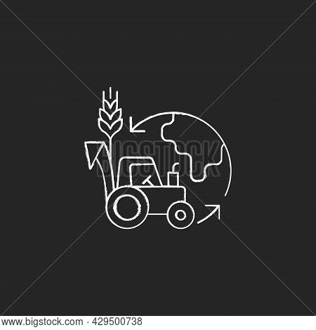 Environmental Sustainability In Agriculture Chalk White Icon On Dark Background. Healthy Ecosystem A