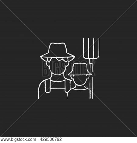 Subsistence Farming Chalk White Icon On Dark Background. Produce Goods For Family. Domestic Food Pro