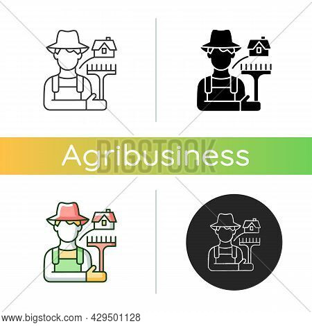 Rural Workers Icon. Man Stands Near Barn. Labourer With Tool. Rural Area Life. Farmer In Village. Gr