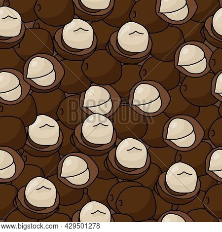 Seamless Pattern Of Macadamia Nuts In Shell And Without On A Dark Brown Background Vector Illustrati