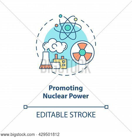 Promoting Nuclear Power Concept Icon. Small Amounts Of The Greenhouse Gas Carbon Dioxide. Atomic Ene