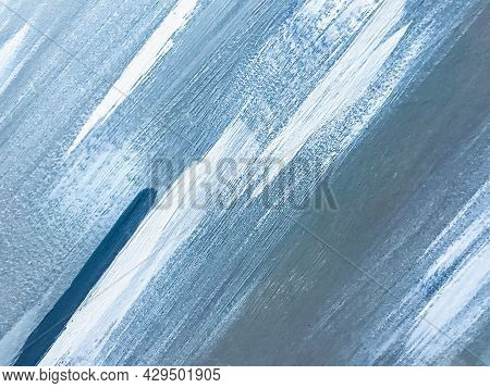 Abstract Art Background Light Blue And White Colors. Watercolor Painting On Canvas With Sky Gradient