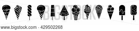 Ice Cream Icons. Set Of Black Icons Of Ice Cream. Vector Ice Cream Icons Isolated