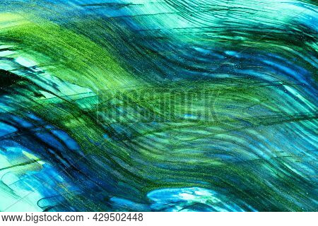 Abstract Art Background Navy Blue And Green Colors. Watercolor Painting On Canvas With Turquoise Str