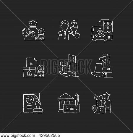 Business Development Chalk White Icons Set On Dark Background. Company Staff. Short-term Deposit. Pl