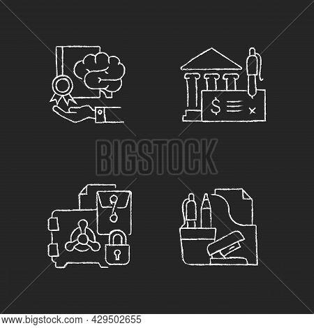 Corporate Intellectual Property Chalk White Icons Set On Dark Background. Bank Draft, Trade Secrets.