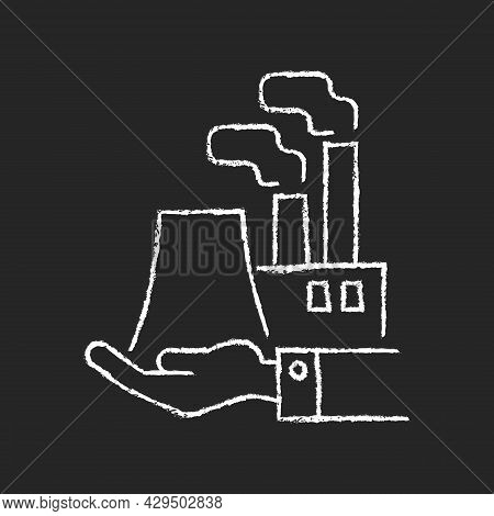 Manufacturing Chalk White Icon On Dark Background. Plants And Ownership. Production Of Goods. Electr