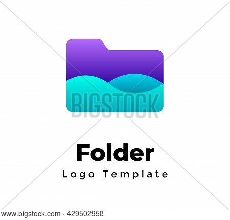 Creative Vector Logo Template. Abstract Folder Sign. Modern Minimalistic File Manager Symbol. Storag