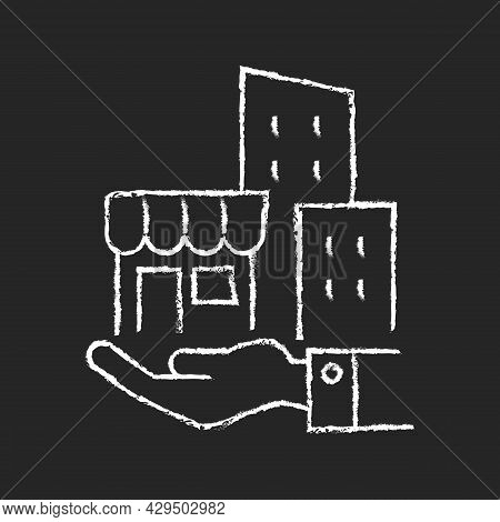 Building Ownership Chalk White Icon On Dark Background. Real Estate Business. Private Property. Comp
