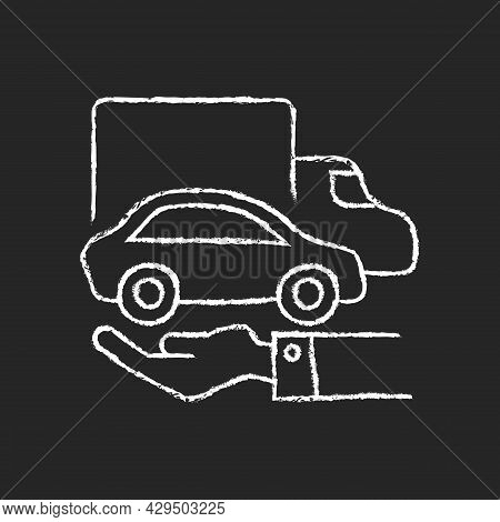 Company Owned Vehicles Chalk White Icon On Dark Background. Business Use Car. Truck And Automobile O