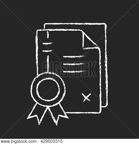 Patents Chalk White Icon On Dark Background. Property Rights Granting. Comprehensive Invention. Inte