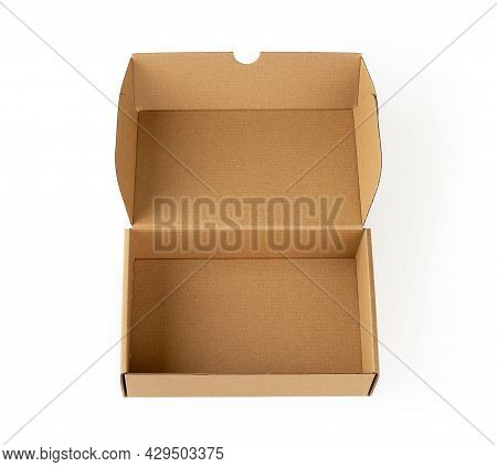 Open Brown Gift Box Isolated On A White Background. Empty Cardboard Box For Packing Small Parcels An