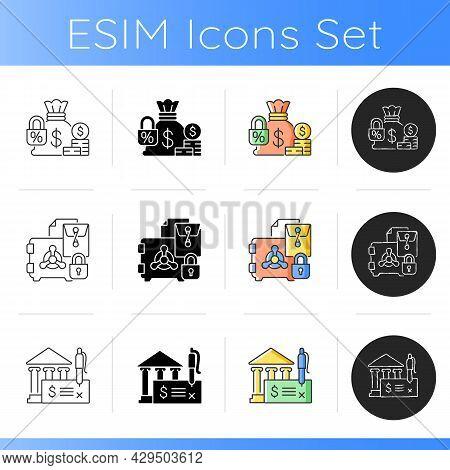 Bank Draft Icons Set. Fixed Deposit. Company Trade Secrets. Metal Safe With Padlock. Financial Asset