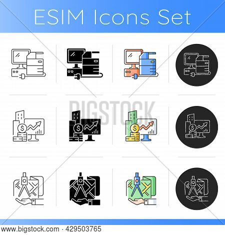 Land Owning Icons Set. Real Estate Ownership. Investment Asset. Titles Rights. Square And Compass In
