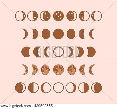 Phases Of Moon, Boho Moon Illustration. Vector Stock Clipart