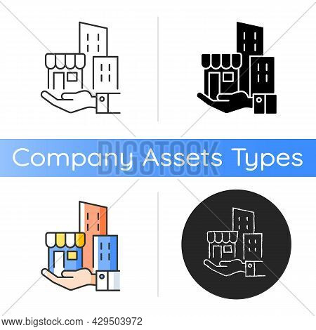 Building Ownership Icon. Real Estate Business. Private Property. Company Assets. Hand Holds Architec